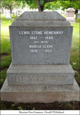 HEMENWAY, LEWIS STONE - Addison County, Vermont   LEWIS STONE HEMENWAY - Vermont Gravestone Photos