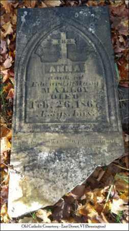 MALLOY, ANNA - Bennington County, Vermont   ANNA MALLOY - Vermont Gravestone Photos