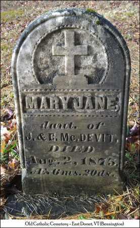 MCDEVIT, MARY JANE - Bennington County, Vermont   MARY JANE MCDEVIT - Vermont Gravestone Photos