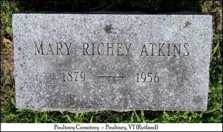 RICHEY ATKINS, MARY - Rutland County, Vermont | MARY RICHEY ATKINS - Vermont Gravestone Photos