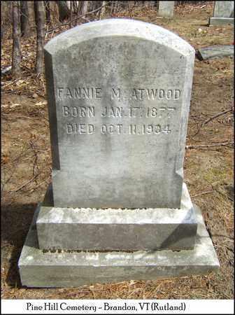ATWOOD, FANNIE M. - Rutland County, Vermont | FANNIE M. ATWOOD - Vermont Gravestone Photos