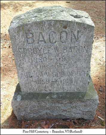 BACON, ADELLA V. - Rutland County, Vermont   ADELLA V. BACON - Vermont Gravestone Photos