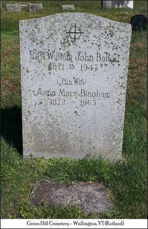 BINGHAM BALLOU, ANNA MARY - Rutland County, Vermont | ANNA MARY BINGHAM BALLOU - Vermont Gravestone Photos