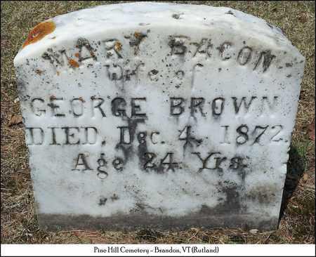 BACON BROWN, MARY - Rutland County, Vermont | MARY BACON BROWN - Vermont Gravestone Photos