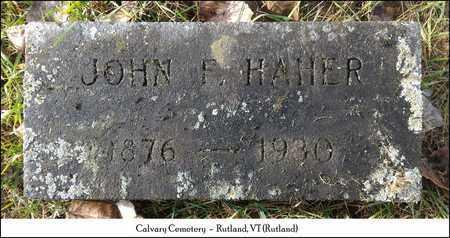 HAHER, JOHN F. - Rutland County, Vermont | JOHN F. HAHER - Vermont Gravestone Photos