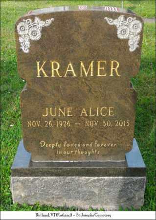 KRAMER, JUNE ALICE - Rutland County, Vermont | JUNE ALICE KRAMER - Vermont Gravestone Photos