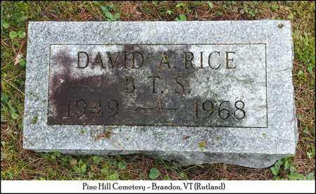 RICE, DAVID A. - Rutland County, Vermont | DAVID A. RICE - Vermont Gravestone Photos