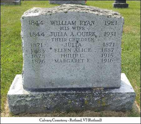 RYAN, JULIA - Rutland County, Vermont | JULIA RYAN - Vermont Gravestone Photos
