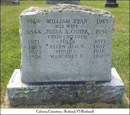 RYAN, ELLEN ALICE - Rutland County, Vermont | ELLEN ALICE RYAN - Vermont Gravestone Photos