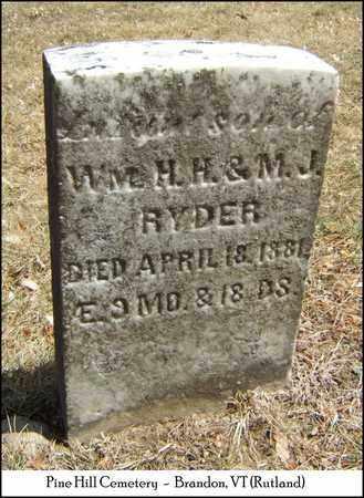 RYDER, INFANT SON - Rutland County, Vermont   INFANT SON RYDER - Vermont Gravestone Photos