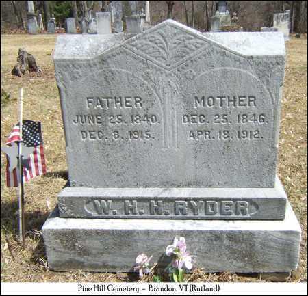 RYDER, WILLIAM HENRY HARRISON - Rutland County, Vermont   WILLIAM HENRY HARRISON RYDER - Vermont Gravestone Photos