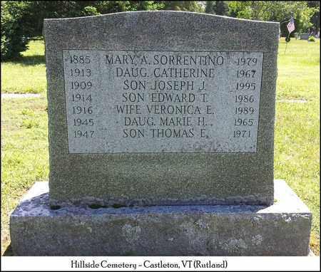 SORRENTINO, MARY A. - Rutland County, Vermont | MARY A. SORRENTINO - Vermont Gravestone Photos
