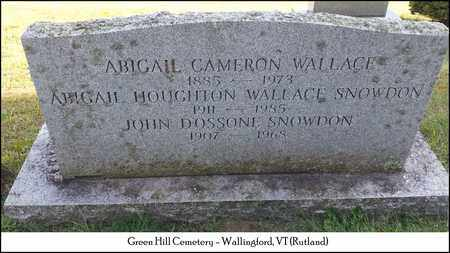 WALLACE SNOWDON, ABIGAIL HOUGHTON - Rutland County, Vermont | ABIGAIL HOUGHTON WALLACE SNOWDON - Vermont Gravestone Photos