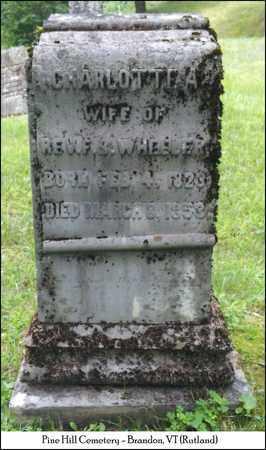 PARMELEE WHEELER, CHARLOTTE AURICA - Rutland County, Vermont | CHARLOTTE AURICA PARMELEE WHEELER - Vermont Gravestone Photos