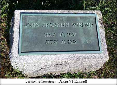 WINSHIP, JOHN FRANKLIN - Rutland County, Vermont | JOHN FRANKLIN WINSHIP - Vermont Gravestone Photos