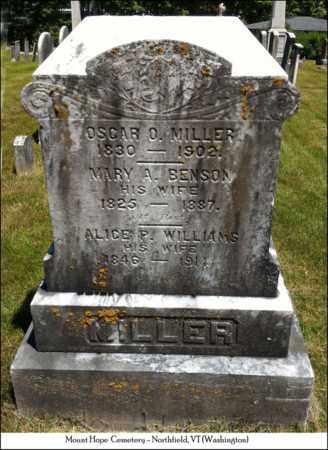 MILLER, MARY A. - Washington County, Vermont | MARY A. MILLER - Vermont Gravestone Photos