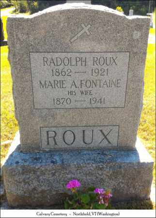 ROUX, RADOLPH - Washington County, Vermont   RADOLPH ROUX - Vermont Gravestone Photos