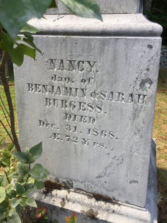BURGESS, NANCY - Windham County, Vermont | NANCY BURGESS - Vermont Gravestone Photos