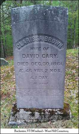 CARY, CLARISSA - Windsor County, Vermont | CLARISSA CARY - Vermont Gravestone Photos