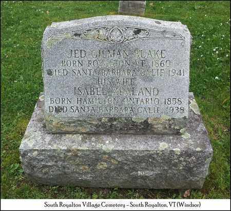 ZEALAND BLAKE, ISABEL - Windsor County, Vermont | ISABEL ZEALAND BLAKE - Vermont Gravestone Photos