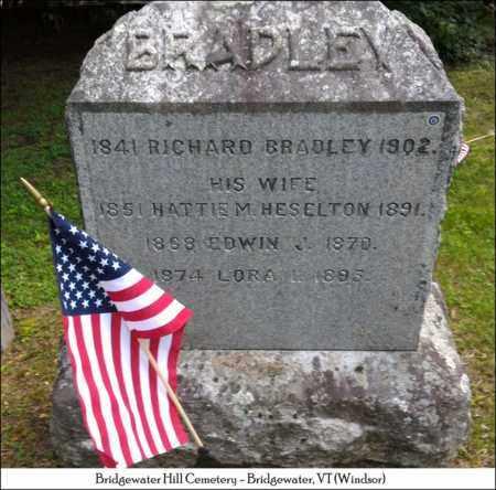 HESELTON BRADLEY, HATTIE M. - Windsor County, Vermont | HATTIE M. HESELTON BRADLEY - Vermont Gravestone Photos