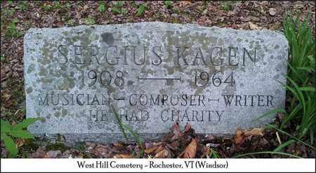 KAGEN, SERGIUS - Windsor County, Vermont | SERGIUS KAGEN - Vermont Gravestone Photos