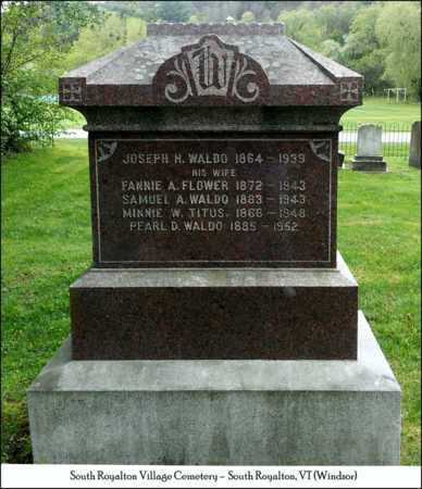 FLOWER WALDO, FANNIE A. - Windsor County, Vermont | FANNIE A. FLOWER WALDO - Vermont Gravestone Photos